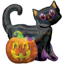 Fekete Macska Holografikus Super Shape Fólia Lufi Halloween-ra