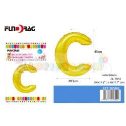 Arany színű, betű alakú fólia léggömb - C