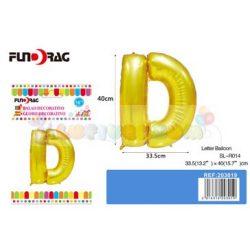 Arany színű, betű alakú fólia léggömb - D