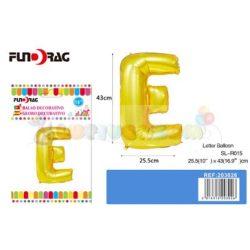 Arany színű, betű alakú fólia léggömb - E