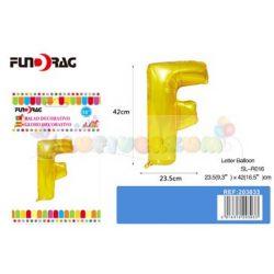 Arany színű, betű alakú fólia léggömb - F