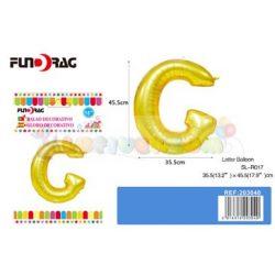 Arany színű, betű alakú fólia léggömb - G