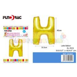 Arany színű, betű alakú fólia léggömb - H