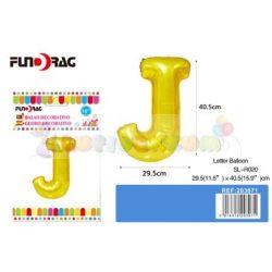 Arany színű, betű alakú fólia léggömb - J