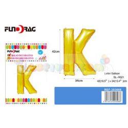 Arany színű, betű alakú fólia léggömb - K