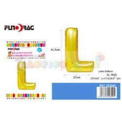 Arany színű, betű alakú fólia léggömb - L