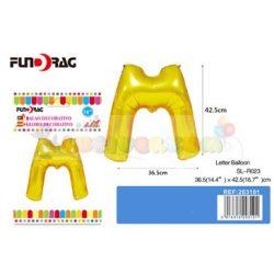 Arany színű, betű alakú fólia léggömb - M