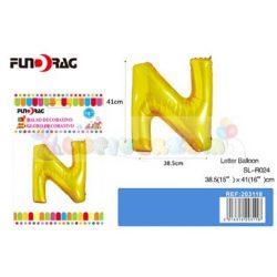 Arany színű, betű alakú fólia léggömb - N