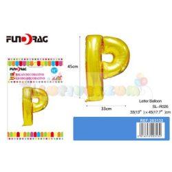 Arany színű, betű alakú fólia léggömb - P