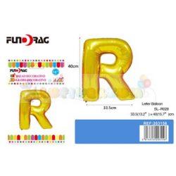 Arany színű, betű alakú fólia léggömb - R