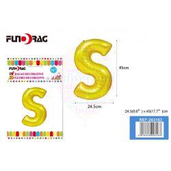 Arany színű, betű alakú fólia léggömb - S