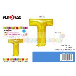 Arany színű, betű alakú fólia léggömb - T