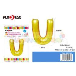 Arany színű, betű alakú fólia léggömb - U