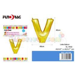 Arany színű, betű alakú fólia léggömb - V