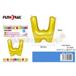 Arany színű, betű alakú fólia léggömb - W