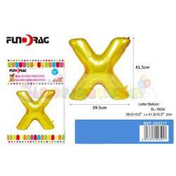 Arany színű, betű alakú fólia léggömb - X