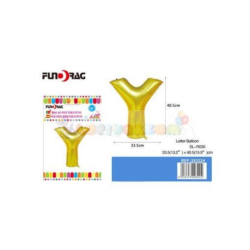 Arany színű, betű alakú fólia léggömb - Y