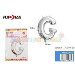 Ezüst színű, betű alakú fólia léggömb - G