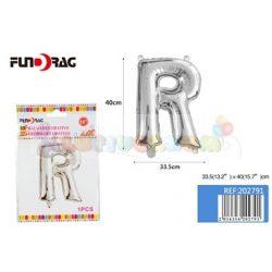 Ezüst színű, betű alakú fólia léggömb - R