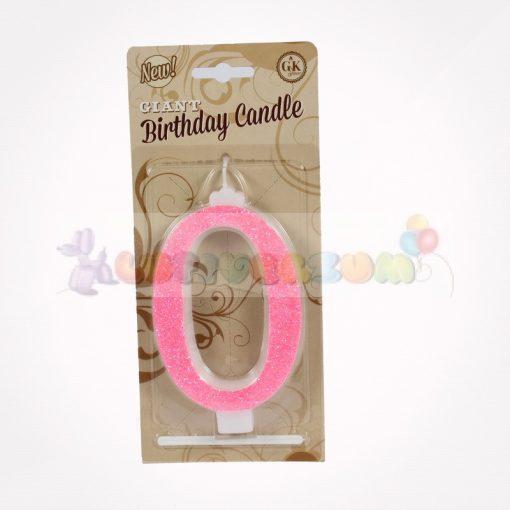 Glitteres számgyertya - pink - 0