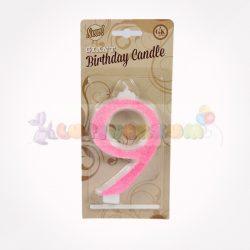 Glitteres számgyertya - pink - 9
