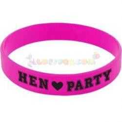 Hen Party Feliratú Rózsaszín Gumi Karkötő Lánybúcsúra, 6 db-os