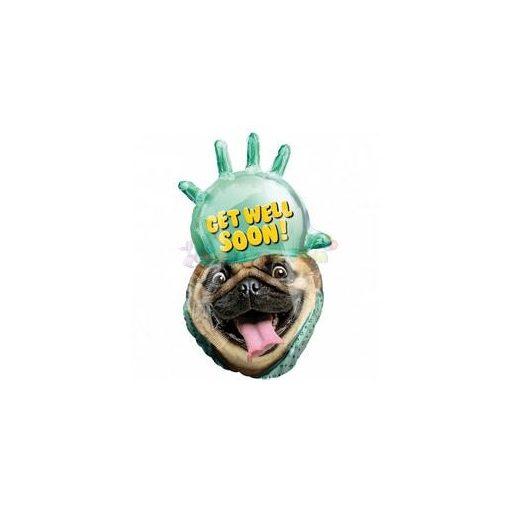 Jobbulást - Gyógyulást Mopsz Kutya Super Shape Fólia Léggömb