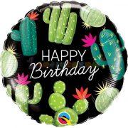 Kaktuszos fekete szülinapi fólia lufi
