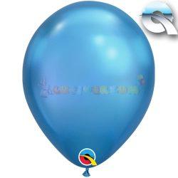 Kék KRÓM hatású léggömb 28 cm-es
