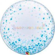 Kék Konfetti Pöttyös Mintás Deco Bubble Lufi 61 cm