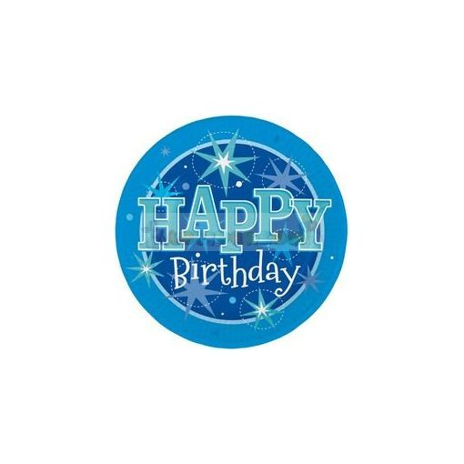 Happy Birthday Kék Sparkle Szülinapi Parti Tányér - 23 cm, 8 db-os