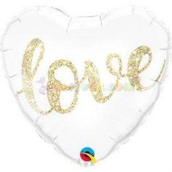 Love Feliratú Glitter Gold Szív Fólia Lufi