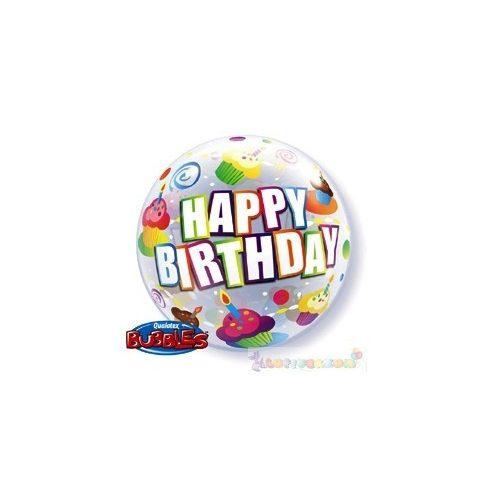 56 cm-es Szülinapos Bubbles lufi - Happy Birthday felirattal és sütikkel