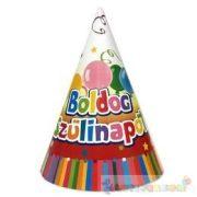 Boldog születésnapot feliratos színes party csákó - 6 db-os