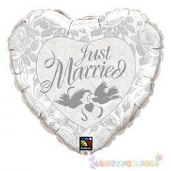 Just Married Szív Fólia Léggömb