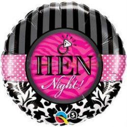 Hen night damaszt fólia léggömb lánybúcsúra - 45 cm