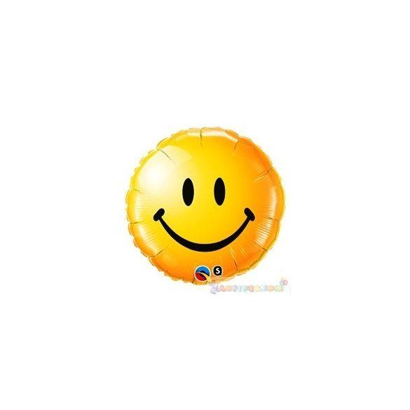 Mosolygós arc fólia léggömb - sárga - 45 cm