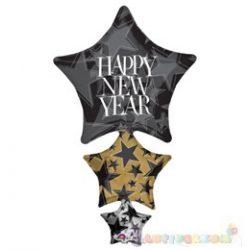 Csillagos Happy New Year Szilveszterfólia lufi - 104 cm x 67 cm