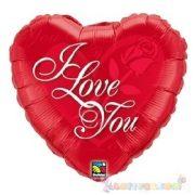 45 cm-es I Love You feliratos, szeremes fólia lufi