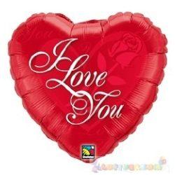 45 cm-es I Love You feliratos, szeremes fólia lufi 489