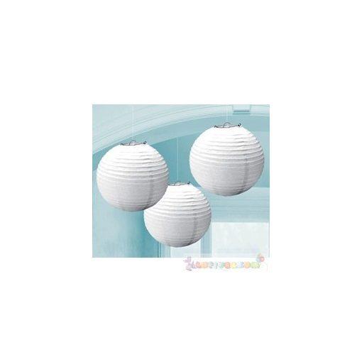 Fehér Színű Party Gömb Lampion - 24 cm, 3 db-os