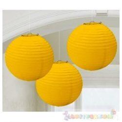 Sárga Színű Party Gömb Lampion - 24 cm, 3 db-os