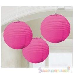 Rózsaszín Színű Party Gömb Lampion - 24 cm, 3 db-os