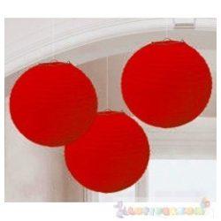 Piros Színű Party Gömb Lampion - 24 cm, 3 db-os
