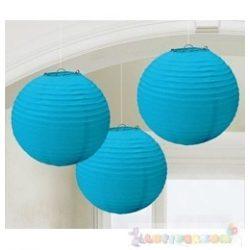 Kék Színű Party Gömb Lampion - 24 cm, 3 db-os