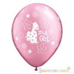 28 cm-es latex Qualatex party lufi kislány babaszületés