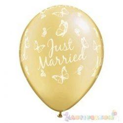 28 cm-es latex Qualatex Just Married Butterflies Pearl Ivory Esküvői Léggömb