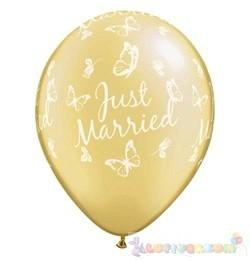 28 cm-es latex Qualatex Just Married Butterflies Pearl Ivory EsküvőLéggömb