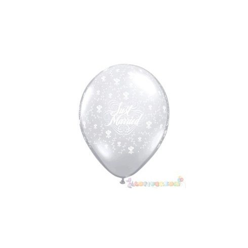 40 cm-es latex Qualatex Just Married Flowers-A-Round Diamond Clear Esküvői Léggömb