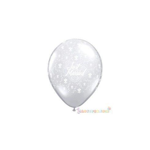 28 cm-es latex Qualatex Just Married Flowers-A-Round Diamond Clear Esküvői Léggömb